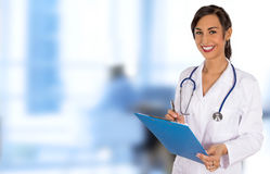 Portrait of attractive young female doctor. Stock Photos