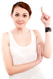 Portrait of an attractive young female showing a thumbs Royalty Free Stock Image