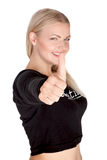 Portrait of attractive young female student showing a thumbs up Stock Photo