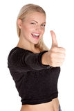Portrait of attractive young female student showing a thumbs up Royalty Free Stock Photography