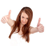 Portrait of attractive young female woman showing a thumbs up Royalty Free Stock Images