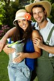 Portrait of attractive young gardening couple Royalty Free Stock Photography