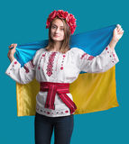 Portrait of attractive young  girl in national dress with  Ukrai Stock Image