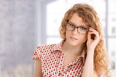 Portrait of attractive young girl wearing gasses Stock Photo