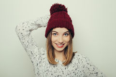 Portrait of an attractive young girl in winter clothes Royalty Free Stock Images