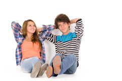 Portrait attractive young happy couple in love man Royalty Free Stock Photography
