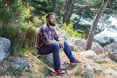 Portrait of an attractive young lumberjack Royalty Free Stock Image