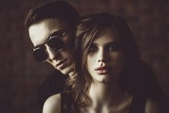 Closeness of two people. Portrait of an attractive young people in love. Beauty, fashion stock image