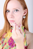 Portrait of attractive young redheat Stock Photo