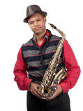 Portrait of attractive young saxophonist Stock Images