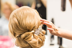 Portrait of attractive young woman with beautiful hairstyle and stylish hair accessory, rear view. Stock Image