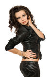 Portrait of attractive young woman in black clothes. Isolated Royalty Free Stock Photos