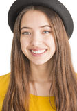 Portrait of attractive young woman with black hat Royalty Free Stock Photography