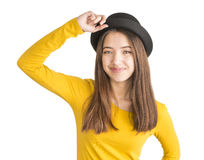 Portrait of attractive young woman with black hat Royalty Free Stock Photos