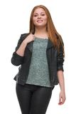 Attractive Young Woman with Black Leather Jacket Stock Photos