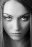 Portrait of attractive young woman bw image Stock Photos