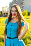 Portrait of attractive young woman in a city outdoors at sammer Royalty Free Stock Photo