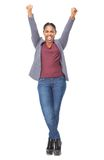 Portrait of an attractive young woman with hands raised Stock Photos