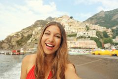 Portrait of attractive young woman in Positano City on Amalfi Co royalty free stock images