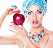Portrait of Attractive Young Woman with Red Apple Stock Image