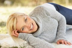 Portrait Of Attractive Young Woman Relaxing Stock Images