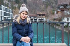 Smiling tourist in Interlaken, Switzerland Royalty Free Stock Images