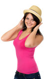 Portrait of attractive young woman in straw hat Stock Photos