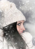 Portrait of attractive young woman in winter Stock Photography