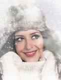Portrait of attractive young woman in winter Stock Images