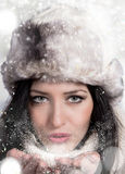 Portrait of attractive young woman in winter Royalty Free Stock Image