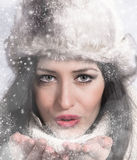 Portrait of attractive young woman in winter Royalty Free Stock Photography