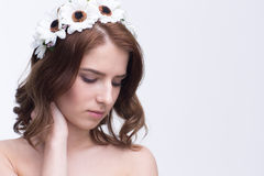 Portrait of attractive young woman with wreath Stock Images
