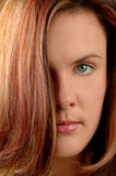 Portrait of auburn young woman. Portrait of attractive young woman with long auburn hair stock photos