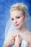 Portrait auf dem blauen Hintergrund Stockfotografie