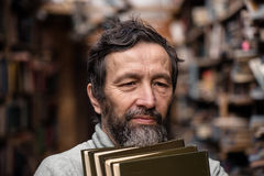 Portrait of authentic old man with beard and good eyes stock photography