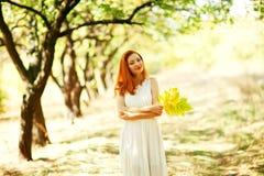 Portrait of autumn happy woman Stock Images