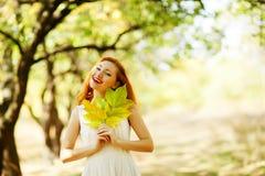 Portrait of autumn happy woman Royalty Free Stock Photos