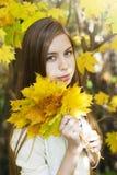 Portrait in autumn park Stock Images