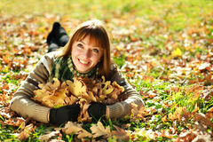 Portrait of autumn smiling girl Stock Images