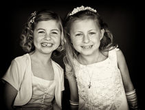 Portrait b&w sisters in formal dress Stock Images
