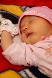 Portrait of baby. In pink hat Stock Image