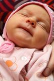 Portrait of baby. In pink hat Stock Photos