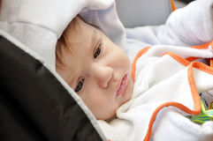 Portrait baby. Lie in stoller Royalty Free Stock Photo