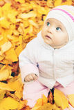 Portrait of baby at autumn park with yellow leaves background stock photo