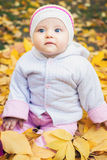 Portrait of baby at autumn park with yellow leaves background stock photos