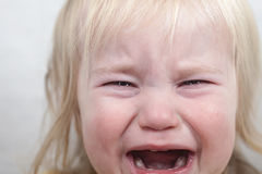 Portrait baby blonde hair emotion crying tears Stock Images