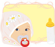 Portrait of the baby with bottle for milk. Card stock illustration