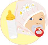 Portrait of the baby with bottle for milk. Sticker. Illustration Stock Photo