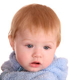 Portrait of baby boy in blue dress. Stock Photos