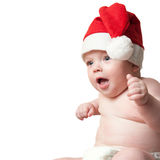 Portrait of baby boy in christmas hat Royalty Free Stock Images